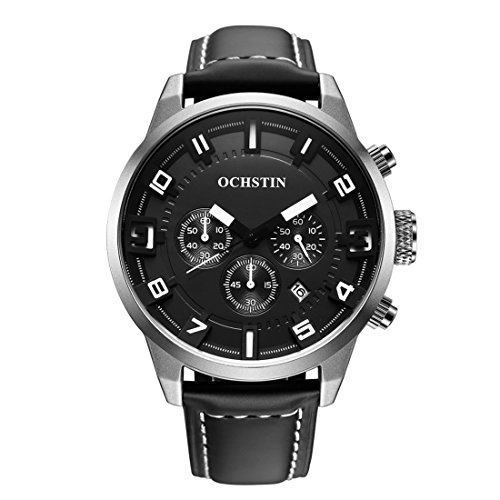 Somviersb Mens horloge waterdicht lederen riem analoge digitale pols WatchesMen sport horloge Chronograph Date Fashion Quartz waterdicht horloge heren chronograaf (SKU : WA0700SW)